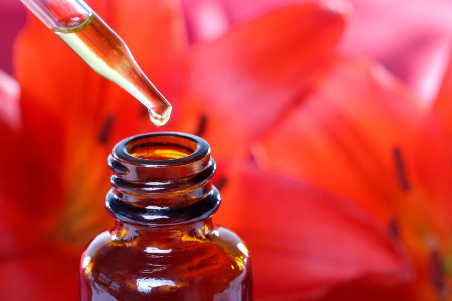 Herbal Medicine Tincture with Flowers (red lilies)